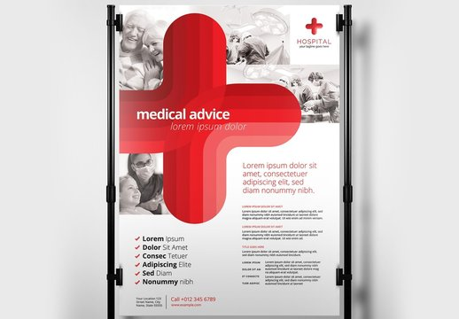 Medical Healthcare Poster Layout with Large Red Cross