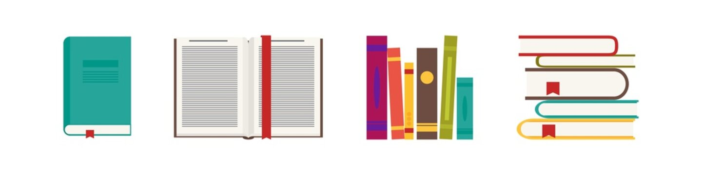 Book in flat style, simple vector icon. Vector set