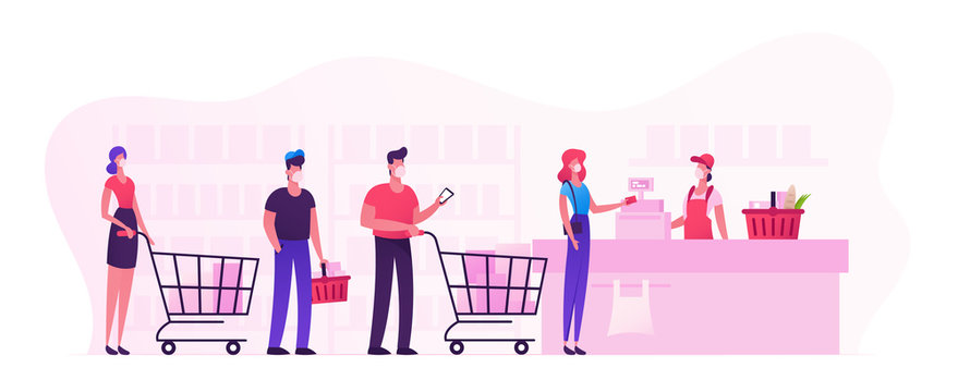 Customers Characters in Medical Masks Stand in Line at Supermarket with Goods in Shopping Trolleys Paying for Purchases at Cashier. Sale Consumerism, Queue in Store. Cartoon Vector People Illustration