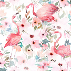 Watercolor seamless pattern. Floral print with flamingo on white background