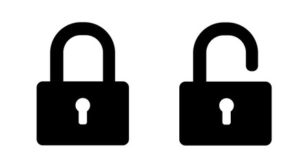 Set of lock icons. padlock silhouette on white background. Locks icons. Black isolated outline icon of locked and unlocked lock on white background. Vector illustration.