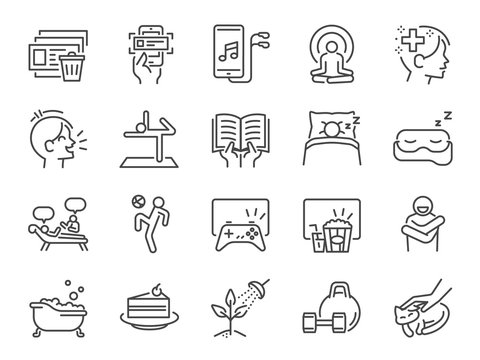 Self-care during self quarantine line icon set. Included icons as take care of your mind, enjoy, emotion, mental health, relax and more.