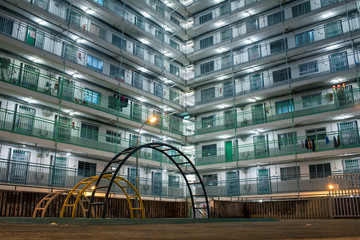 Acrylic Prints Chicken Night view of Nam Shan Estate in Shek Kip Mei, Kowloon, Hong Kong 香港・石硤尾の団地 南山邨の夜景