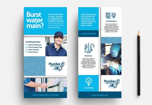 Plumbing Service Flyer Layout with Wrench Logo