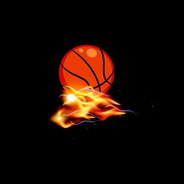 basket ball with fire background - object logo design vector template
