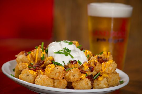 Loaded Tater Tots with Sour Cream