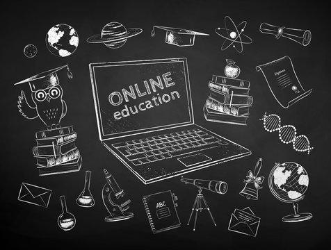 Chalk drawn set of online education items