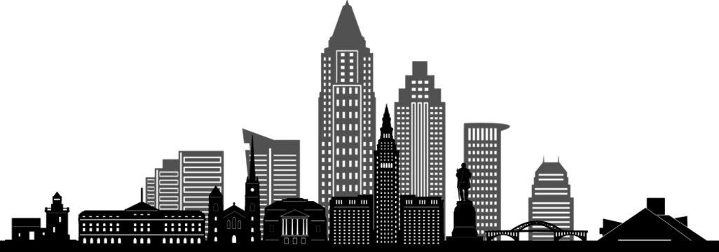 CLEVELAND OHIO City Skyline Silhouette Cityscape Vector