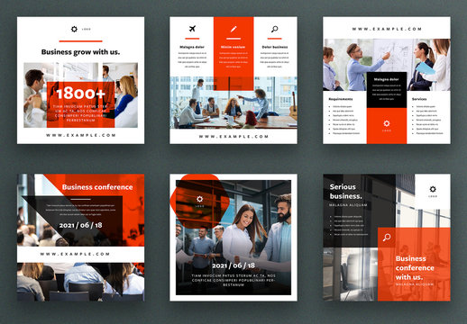 Social Media Post Layout Set with Orange Accent