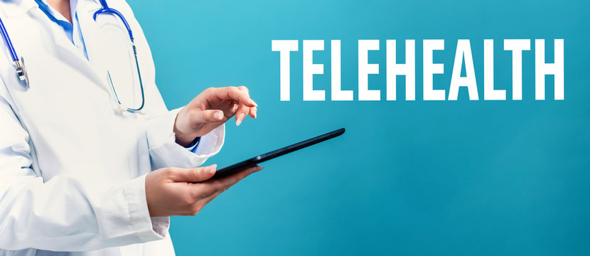Telehealth theme with a doctor using a tablet computer