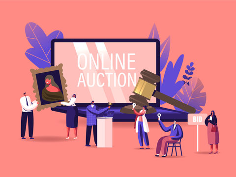 Online Auction Concept. Auctioneer, People Collectors Buying Assets in Internet. Tiny Male and Female Characters at Huge Laptop and Gavel Holding and Rising Bid Boards. Cartoon Vector Illustration