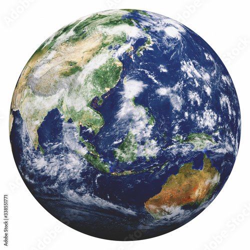 Wall mural Planet Earth on white