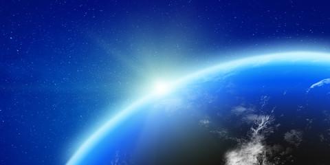 Wall Mural - Planet Earth glow light horizon
