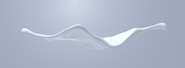 Creamy white liquid splash. Vector realistic 3d illustration. Flowing milk. Melted and dripping protein substance. Isolated splashing cream. Decoration element for cosmetics or food industry design Fototapete