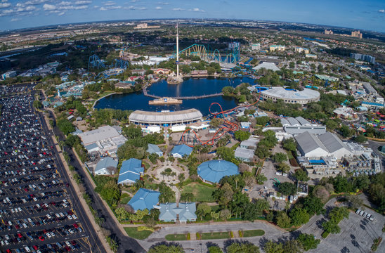 Aerial View of the SeaWorld Amusement Park during the Corona Virus Shutdown