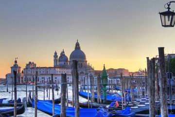 Docked Gondolas With Church Of San Giorgio Maggiore In Background