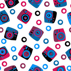 Colorful photo cameras isolated seamless pattern
