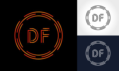 Initial DF Letter Logo With Creative Modern Business Typography Vector Template. Digital Circle Letter DF Logo Design