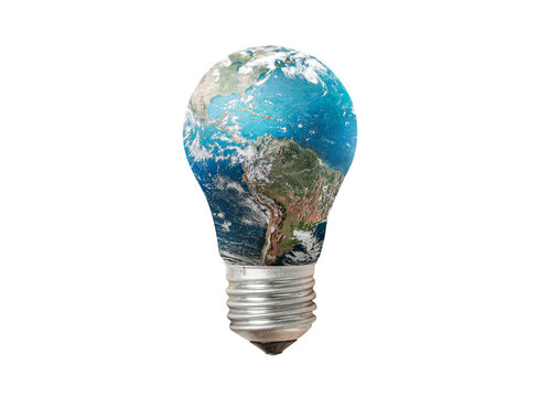 Light bulb with Earth globe isolated on white background. Green energy and ecology concept. Elements of this image furnished by NASA