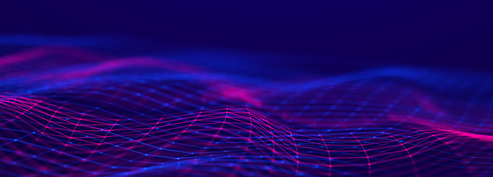 Futuristic wave on dark background. Colored pattern of connection dots and lines. Technology or Science Banner. 3D