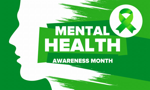 Mental Health Awareness Month in May. Annual campaign in United States. Raising awareness of mental health. Control and protection. Prevention campaign. Medical health care design. Vector illustration