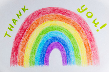 The hand drawn rainbow poster. Thank you NHS Staff for your service in face of worldwide coronavirus crisis concept. The symbol of happiness hope and luck Wall mural