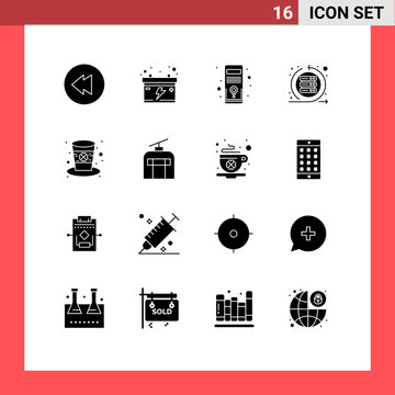 Editable Vector Line Pack of 16 Simple Solid Glyphs of leprechaun, hat, system, day, sprint