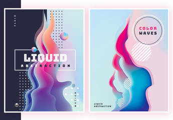 Liquid Abstract Poster Set