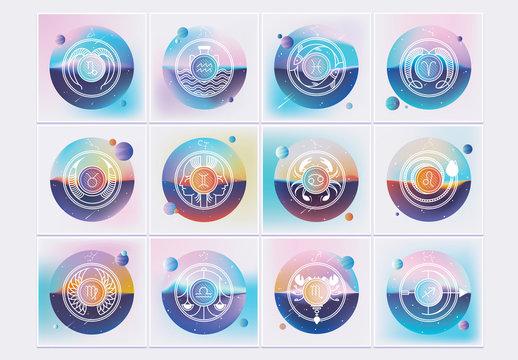 Gradient Zodiac Logo Set
