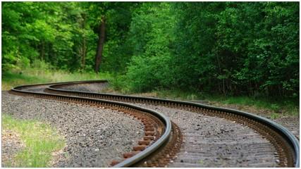 Spoed Fotobehang Spoorlijn View Of Winding Railroad Tracks