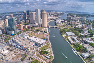 Aerial View of the City of Tampa on the Hillsborough River