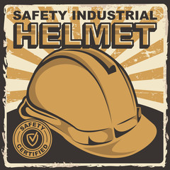 Safety Industrial Helmet Signage Poster Retro Rustic Vector