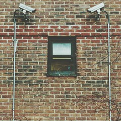 Security Cameras Against Brick Wall