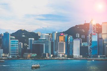 Wall Mural - Hong Kong Victoria Harbour view; Hong Kong Cityscape