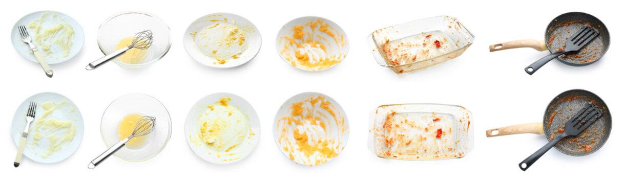 Set of dirty dishware on white background