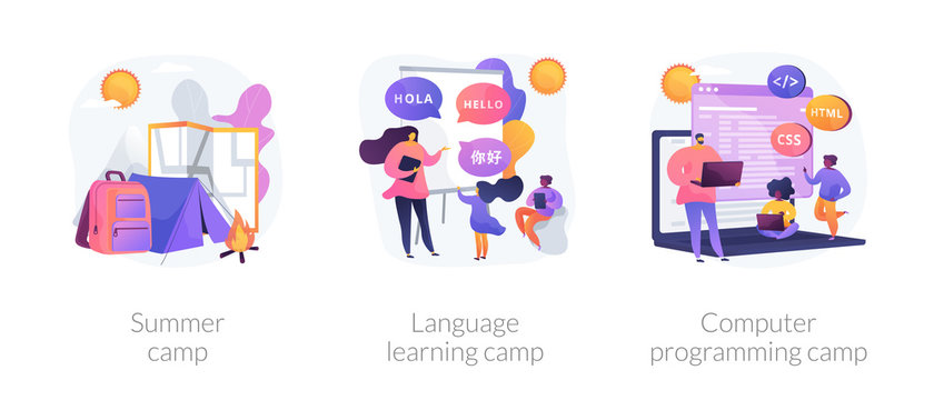 Educational summertime activities for children metaphors. Summer camp, language learning class, computer programming course. Kids vacation. Vector isolated concept metaphor illustrations.