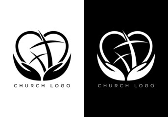 Church logo. Christian sign symbols. The Cross of Jesus