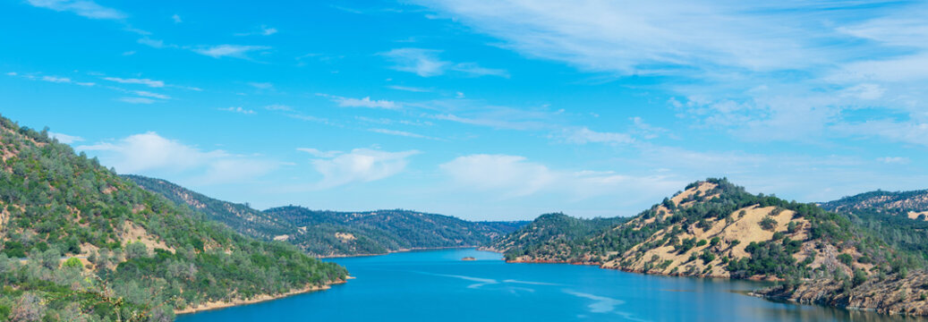 Aerial panorama of Don Pedro reservoir on Tuolumne River, Sierra Nevada foothills