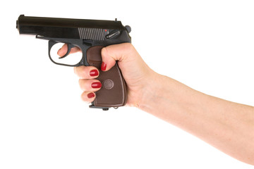 female hand holding gun