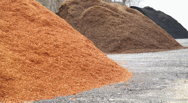 close up on colorful mulch in piles
