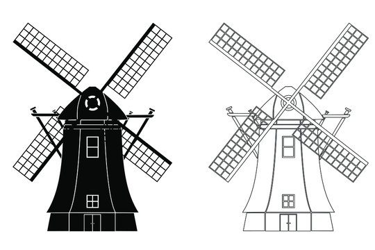 Silhouette of Traditional windmill Vector illustration