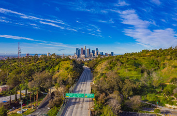 Aerial view of empty freeway streets with no people and vehicles in downtown Los Angeles California USA due to coronavirus pandemic or COVID-19 virus outbreak and quarantine Fototapete