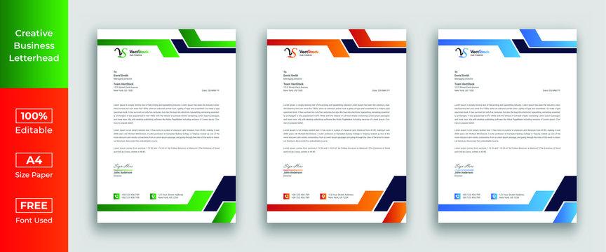 Letterhead template in flat style, letterhead set or bundle
