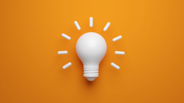 Light bulb idea concept top view on orenge background. 3D rendering