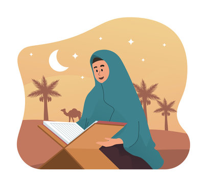 Muslim woman reading holy quran. Ramadan kareem flat cartoon illustration