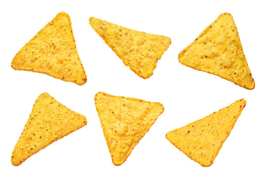 Collection of mexican nachos chips, isolated on white background