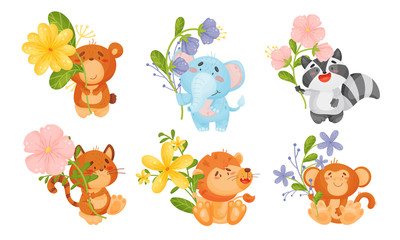 Cute Animals Holding Flower on Stalk with Their Paws Isolated on White Background Vector Set