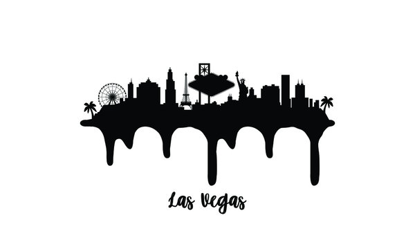 Las Vegas Texas black skyline silhouette vector illustration on white background with dripping ink effect.