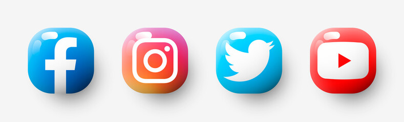 3d Set glossy of popular social app icons with shadow: facebook, instagram, twitter, youtube