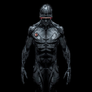Cyberpunk android portrait / 3D illustration of male science fiction humanoid robot wearing futuristic glasses isolated on black background